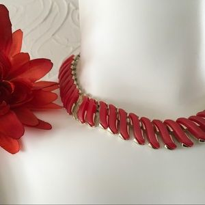 Coro Red Lucite Baguette Necklace Gold Vintage